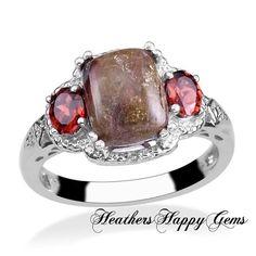 Genuine Rainforest Jasper/Mozambique Garnet Ring . Starting at $20 on Tophatter.com!
