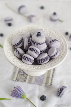 Blueberry and White Chocolate Macarons