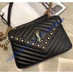 d962c717ef Saint Laurent LouLou Studded Bag in Black Matelassé Leather