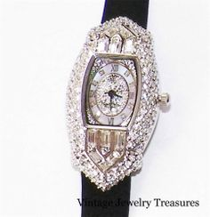 Victoria Wieck Art Deco Pave' Crystal Black Suede Strap Silver Watch New HSN