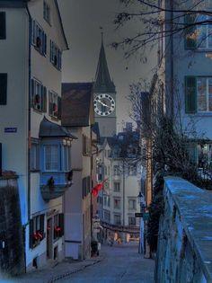 Zurich, Switzerland. I took this exact same photo when I was visiting Zurich. One of my favorite cities