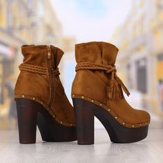 Botine Dama Camel Cu Toc Gros Cod: 428p Camel, Booty, Shoes, Fashion, Moda, Swag, Zapatos, Shoes Outlet, Fashion Styles