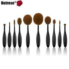 10pcs Toothbrush Makeup Brushes Professional Oval Make up Brush Set Beautiful Foundation Power Blush Blend Cosmetic Tool