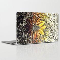Golden glitter daisy flower laptop skin http://society6.com/product/golden-glitter-rust-daisy-flower-metallic-look_laptop-skin?curator=ankka