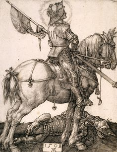 """St. George on horseback"" by Albrecht Dürer  via DailyArt app, your daily dose of art getdailyart.com"
