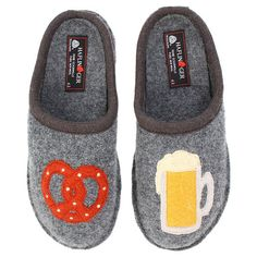 beer and pretzel slippers   apparently they don't make these anymore....WHY??????