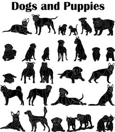 Dogs and Puppies - DXF files Cut Ready CNC Designs - DXFforCNC.com,  It is magic elements of your garden and home decor. These files contain collection of 27 wonderful Dogs and Puppies ( Bulldog, German shepherd, Pitbull, Rottweiler, Beagle, Boxer  ) illustrated in decorative view and delivered in dxf files cut ready cnc designs. All our dxf designs are ready for most CNC cutting machine and designed to be cut for plasma and laser cutters and can be scaled for any other CNC machine such as…