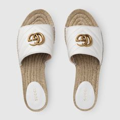 Shop the Leather espadrille sandal by Gucci. Carefully constructed in Spain, these espadrille sandal Sandals Outfit, Sport Sandals, High Heels, Shoes Heels, Gucci Shoes Sneakers, Sneakers Women, Flat Shoes, Nike Shoes, Adidas Sneakers