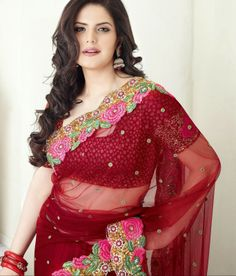 Zarine Khan in Net Material Red Color Designer Bollywood Saree. A gorgeous saree for party wear. Bollywood Saree, Indian Bollywood, Bollywood Fashion, Bollywood Actress, Pakistani, Indian Tv Actress, Beautiful Indian Actress, Zarine Khan, Eastern Dresses