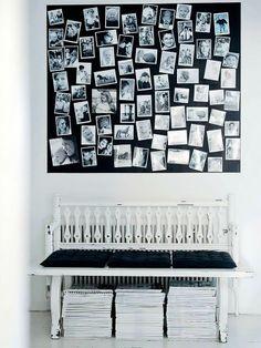 Banco de madeira com almofadas pretas