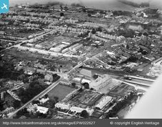 Aerial view showing Fair Close in the foreground and Newtown Road, leading to Bartholomew Street.