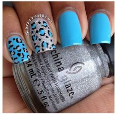 Blue leopard print nails by IG user @brackett0701