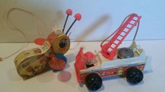 Vintage 1968 Fisher Price Pull Toys - FireTruck 720 & Queen Buzzy Bee 444 Nice!! #FisherPrice
