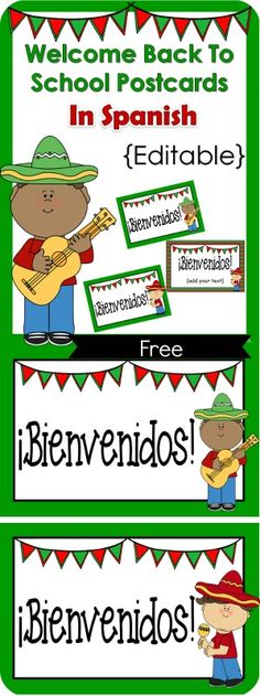 FREE Welcome Back to School Postcards In Spanish {Editable} are a great set to welcome students to school or back to school.  The best part is that this packet is editable so you can add your own words too, meaning that you can customize it to say whatever you want!  Print on card stock, or any thick paper, cut, and write on the back. Enjoy!