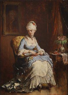 Jeune Femme avec un Petit Chien (1872), Rosa Schweninger