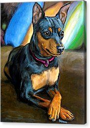 "Items similar to Dachshund, Dog Art Print of Painting by Dottie Dracos ""Black and Tan Doxie on light green"", Doxie on Etsy"