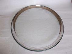 """Annieglass Roman Antique Platinum 12"""" Buffet Plate, signed, 1999, VGUC, #8 #Modern"""