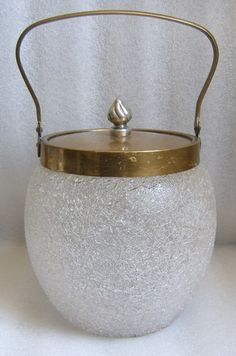 Antique White Overshot Crackle Glass Biscuit Barrel Cracker Jar C 1900 Nice | eBay