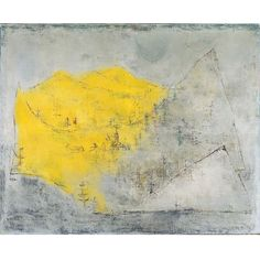 Zao Wou-Ki - 03.09.1950. Suggesting in an almost primitive way, the faint silhouettes of mountains and trees, this early landscape demonstrates the influence of nature on Zao.  His use of color here contrasts with the cool grayish undertones. This yellow form hovers over these mountains as if about to engulf them.  It is interesting to compare this yellow mass with Bierstatd's morning sunlight on the verge of illuminating the landscape in Storm in the Mountains, 1870.