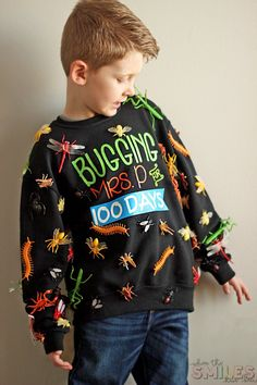 """100 Days of School Shirt Idea: 'Bugging' My Teacher - - This 100 Days of School shirt idea is just *crawling* with coolness! Show how your kiddo """"bugs"""" his/her teacher in this fun and simple school project!"""