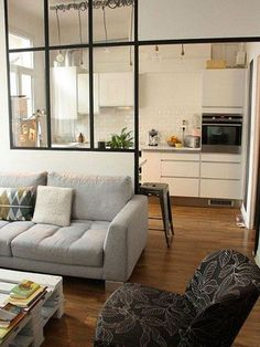 Having small living room can be one of all your problem about decoration home. To solve that, you will create the illusion of a larger space and painting your small living room with bright colors c… Home Interior, Interior Architecture, Interior Design, Interior Windows, Kitchen Interior, Modern Interior, Kitchen Living, Home And Living, Kitchen Small