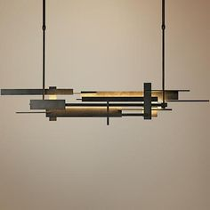 "More rustic/modern take: Hubbardton Forge Planar 42 1/2""W LED Island Pendant"