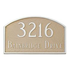 Montague Metal Products Prestige Arch Standard Address Plaque Finish: White / Black, Mounting: Lawn