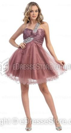 A-line One Shoulder Tulle Short/Mini Burgundy Criss Cross Prom Dress at edressestore.com.au