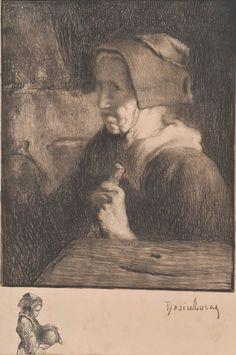 "Louis Marie Desire Lucas (1869-1949), ""Vieille bretonne"", litho"