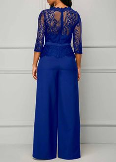 Order the Blue Scalloped Neckline Peplum Waist Lace Panel Jumpsuit Here. Blue Jean Jumpsuit, Pink Jumpsuit, Look Fashion, Womens Fashion, Groom Dress, Jumpers For Women, Jumpsuits For Women, Fashion Jumpsuits, African Fashion