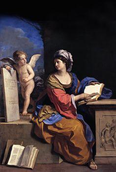 """""""Sibilla cumana con putto"""", 1650 ca, Guercino. La donna ha tra le mani un libro aperto, anche se il suo sguardo è rivolto al putto che la accompagna e le indica una tavola alla quale è appoggiato. Guercino evidenzia la funzione profetica attestata da libri e rotoli come nella maggior parte delle Sibille cristiane. #ARTEmisiaLegge @libriamotutti"""