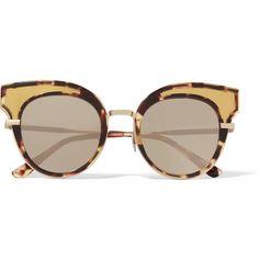 Bottega Veneta Cat-eye acetate and gold-tone mirrored sunglasses (19,660 DOP) ❤ liked on Polyvore featuring accessories, eyewear, sunglasses, cat-eye glasses, mirrored lens sunglasses, cat eye sunglasses, cat eye glasses and mirror sunglasses