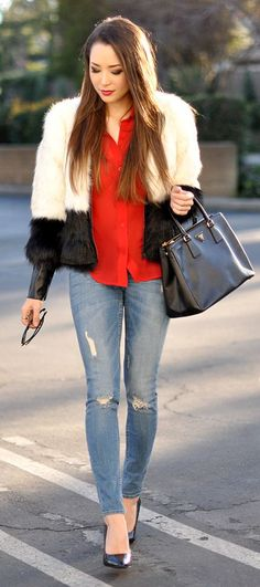 White And Black Faux Fur Jacket