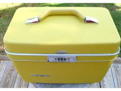 Vintage Train Travel Cosmetic Case from Clearly Rustic at Etsy