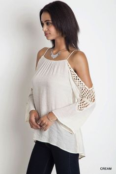Crochet Cold Shoulder Top - Cream - Knitted Belle Boutique