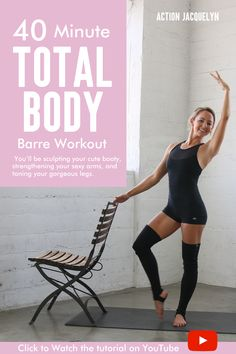 Watch this 40 Minute Total Body Barre Workout - Action Jacquelyn - Video Tutorial You don't need any equipment at all, just a chair or ledge for balance. Watch this 40 Minute Total Body Barre Workout - Action Jacquelyn - Video Tutorial. Pilates Workout Routine, Pilates Training, Barre Exercises At Home, Barre Workout Video, Workout Videos, At Home Workouts, Barre At Home Workout, Body Workouts, Boxing Workout