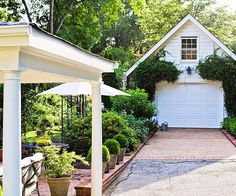 Dress Up the Driveway  The driveway is often overlooked when fixing up a home's facade yet it's on display for all to see. Patch and seal your driveway, filling holes and cracks with asphalt patch. Apply fresh sealer to make a tired driveway look new again. Add interest by installing brick edging along the driveway or soften the look with flowerbeds or plantings