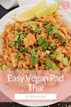 The best vegan pad thai recipe you will ever need. It's easy and healthy - made with tofu and rice noodles so it's naturally gluten-free too.