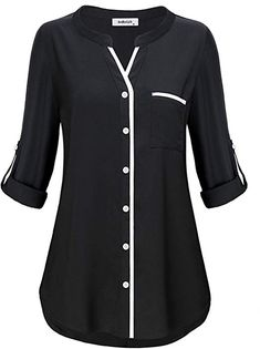 Henley Tunic Shirts for Women to Wear with Sleeve Simple Style Casual V Neck Button Down Plain Tops Fitted Tshirt Knit Basic Jersey Lady Modern Peplum Blouse Prime Club Wear Black MBestseller AxByCzD Damen Manschette Henley V-Ausschnitt Chiffon Tunik Tunic Blouse, Shirt Blouses, Tunic Tops, Shirts, Kurta Designs, Blouse Designs, Plain Tops, Blouse Styles, Chiffon Tops