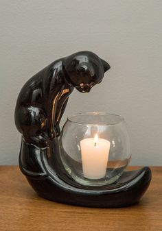 Curiouser and Curiouser Candle Holder - Black, Mid-Century, Cats, Good, Critters, Halloween