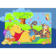Winnie the Pooh mit Tigger beim Picknick Teppich Kinderteppich Kinder Teppich Spielteppich Winnie the Puuh 95 x 133 cm ein muss für jeden Fan und darf in keinem Kinderzimmer fehlen von Bavaria Home Style Collection, http://www.amazon.de/dp/B00I6MDOWK/ref=cm_sw_r_pi_dp_1sy7sb0XHF0AT