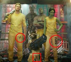 In Guardians of the Galaxy, the stripes on each of the prisoners' legs correspond to a crime they've committed, while the pattern explains the severity of each.