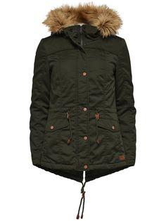 ONLY Damen Winter Jacke KATE SHORT CANVAS JACKET Parka peat