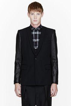 PUBLIC SCHOOL Black leather-sleeved blazer