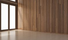 The interior design of empty living room and wood wall texture / 3d rendering new scene