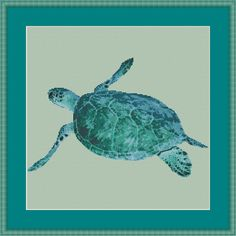 Cross Stitch Kit Sea Turtle Turtle Ocean by Orcraphics on Etsy, €27.95