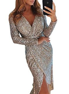 bed148dba1 Sexy Club Wear Party Dress Women Silver V Neck High Slit Long Sleeve Sequin  Dress Autumn Asymmetrical Bodycon vestidos mujer