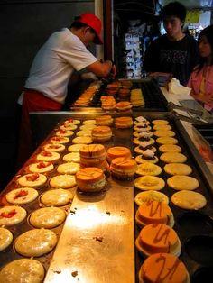 Taipei Taiwan Night Market cakes and crepes freshly made.