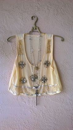 Image of Anthropologie Lux Hand Beaded apricot sheer crop top for Gypsy dance