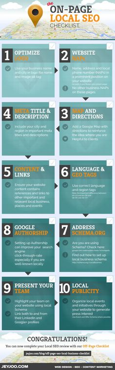 The On-Page SEO Checklist for Local Business Websites La lista de control On-Page SEO para los sitios web de empresas locales http://jeyjoo.com/blog/on-page-seo-local-business-checklist